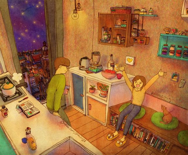 Aşk yemeğin pişmesini beklerken mutfakta sohbet etmektir