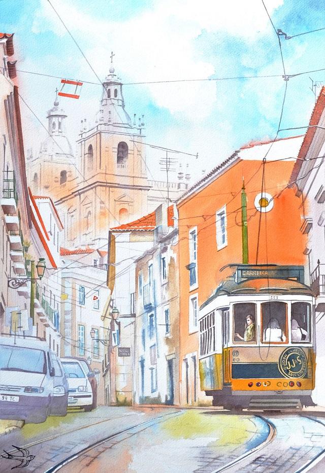Portekiz Mimarisi Suluboya Resimlerde