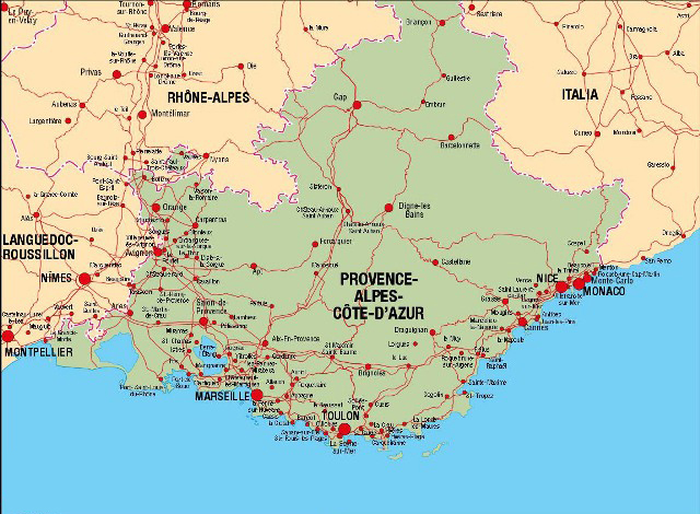 Côte d'Azur Haritası