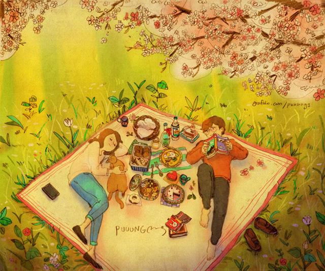 Aşk baharı kutlamak için piknik yapmaktır